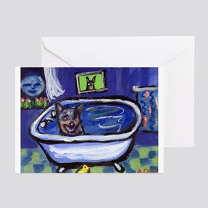 AUSTRALIAN CATTLE DOG BATH Greeting Cards (Package