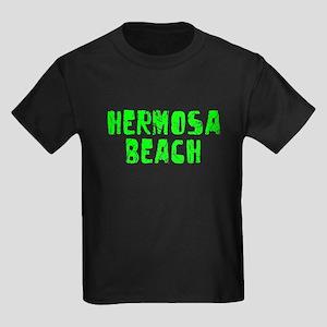 Hermosa Beach Faded (Green) Kids Dark T-Shirt