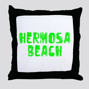 Hermosa Beach Faded (Green) Throw Pillow