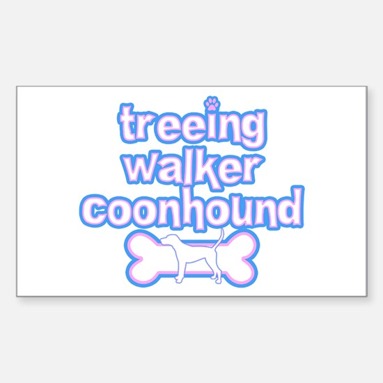 Powderpuff Treeing Walker Rectangle Decal