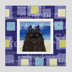SCHIPPERKE summer yellow Tile Coaster
