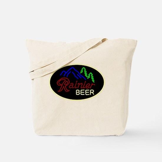 Rainier neon sign oval Tote Bag