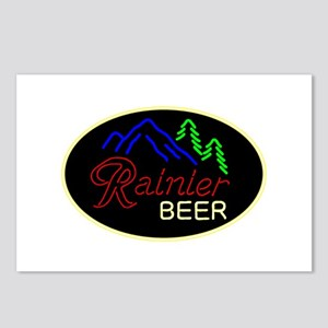 Rainier neon sign oval Postcards (Package of 8)