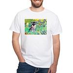 Irises / Miniature Schnauzer White T-Shirt
