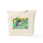 Irises / Miniature Schnauzer Tote Bag