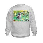 Irises / Miniature Schnauzer Kids Sweatshirt