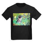 Irises / Miniature Schnauzer Kids Dark T-Shirt