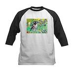 Irises / Miniature Schnauzer Kids Baseball Jersey