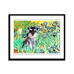 Irises / Miniature Schnauzer Framed Panel Print