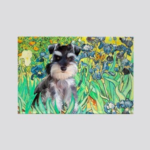 Irises / Miniature Schnauzer Rectangle Magnet