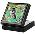 Irises / Miniature Schnauzer Keepsake Box