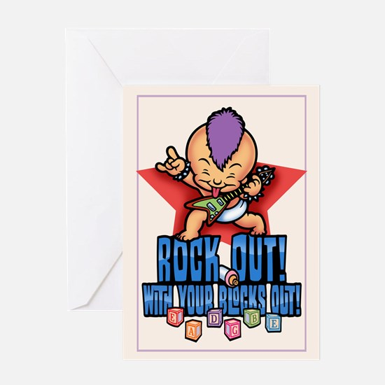 Rock Out Blocks Out Greeting Card