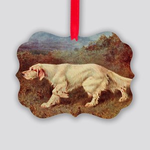 English Setter Watercolor Picture Ornament