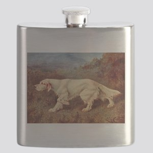 English Setter Watercolor Flask
