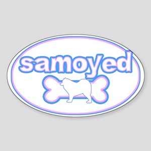Powderpuff Samoyed Oval Sticker