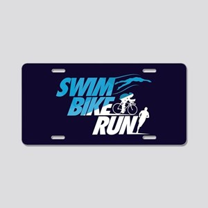 Swim Bike Run Split Blue Da Aluminum License Plate