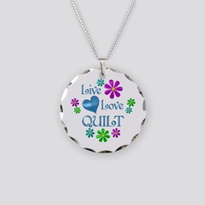 Live Love Quilt Necklace Circle Charm
