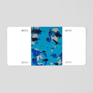blue black grey gray abstract painting Aluminum Li