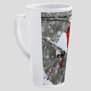 Snowy Cardinal 17 oz Latte Mug