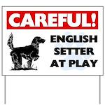 English Setter At Play Yard Sign