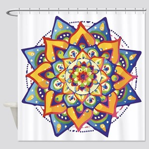 Blue Gold Mandala Shower Curtain