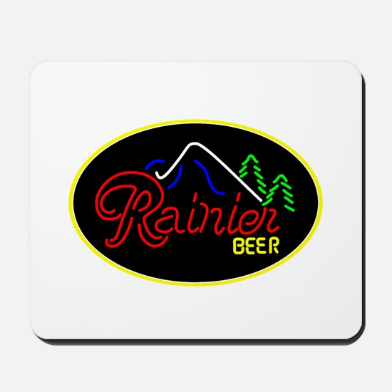 Rainier Beer neon sign 3 Mousepad