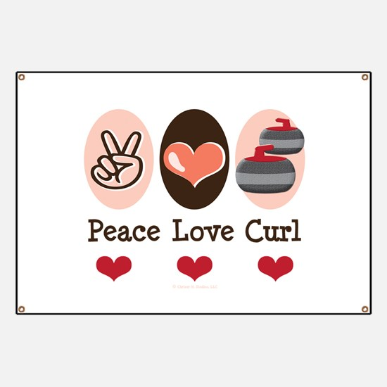 Peace Love Curl Curling Banner