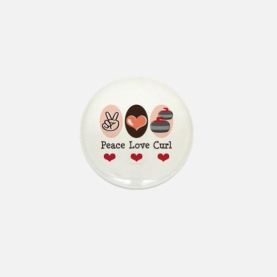 Peace Love Curl Curling Mini Button