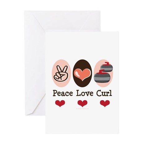 Peace Love Curl Curling Greeting Card