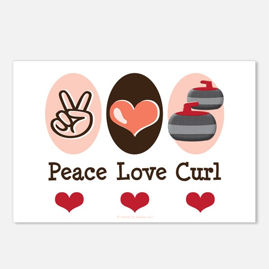 Peace Love Curl Curling Postcards (Package of 8)