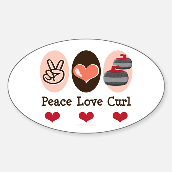 Peace Love Curl Curling Oval Decal