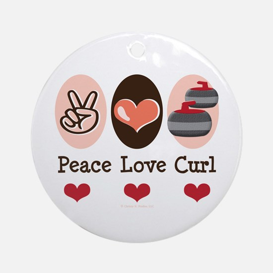 Peace Love Curl Curling Ornament (Round)