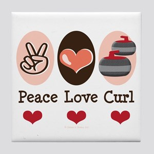 Peace Love Curl Curling Tile Coaster