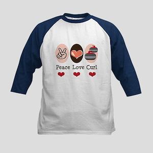 Peace Love Curl Curling Kids Baseball Jersey