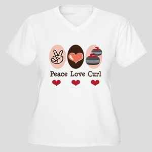 Peace Love Curl Curling Women's Plus Size V-Neck T