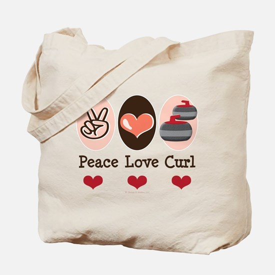 Peace Love Curl Curling Tote Bag