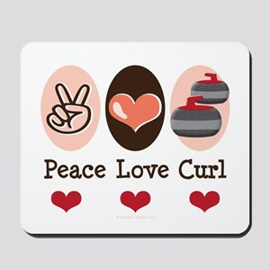 Peace Love Curl Curling Mousepad
