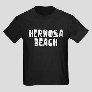 Hermosa Beach Faded (Silver) Kids Dark T-Shirt