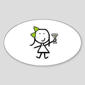 Girl & Martini Oval Sticker