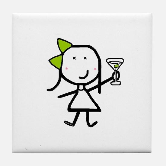 Girl & Martini Tile Coaster