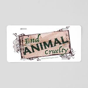 End Animal Cruelty Aluminum License Plate