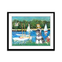 Sailboats /Min Schnauzer Framed Panel Print