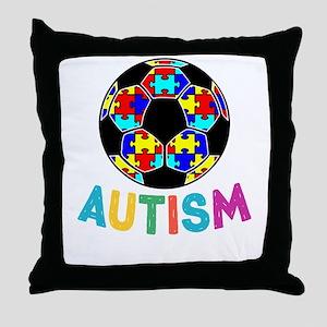 Autism Awareness Soccer Throw Pillow