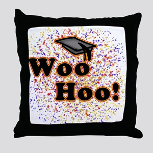 Woo Hoo Confetti Graduation Throw Pillow