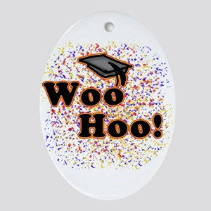 Woo Hoo Confetti Graduation Oval Ornament