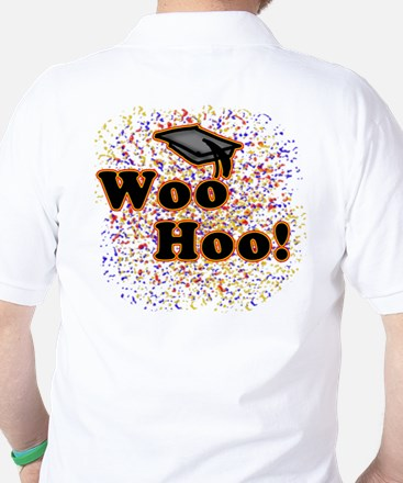 Woo Hoo Confetti Graduation Golf Shirt