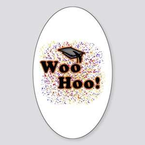 Woo Hoo Confetti Graduation Oval Sticker