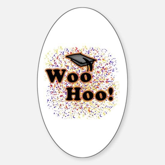 Woo Hoo Confetti Graduation Oval Decal
