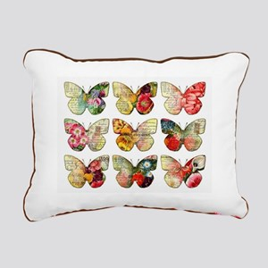 BUTTERFLY COLLAGE Rectangular Canvas Pillow