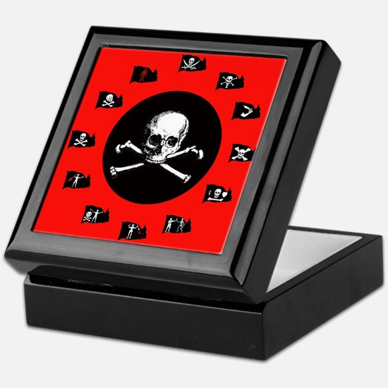 Pirate Flags, Red Jolly Roger Keepsake Box